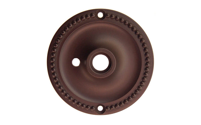Solid Brass Beaded Rosette ~ Privacy (Locking) ~ Oil Rubbed Bronze Finish