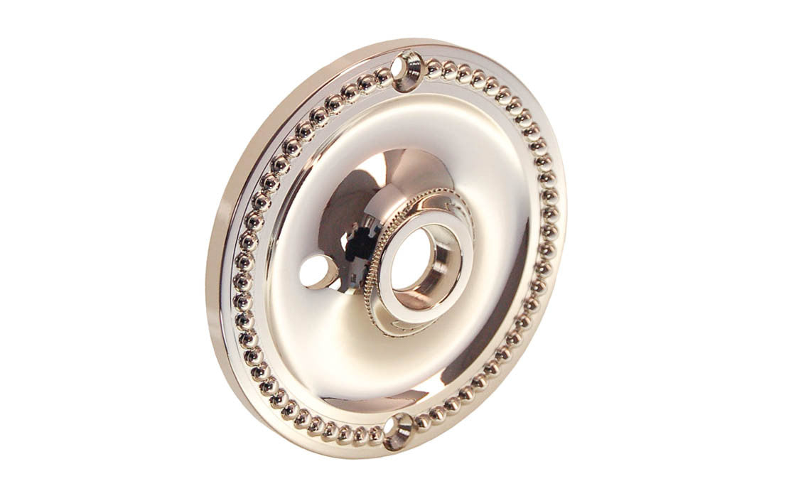 Solid Brass Beaded Rosette ~ Privacy (Locking) ~ Polished Nickel Finish