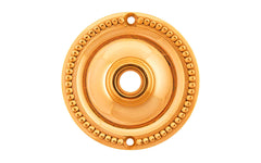 Solid Brass Beaded Rosette ~ Passage (Non-Locking) ~ Lacquered Brass Finish