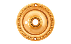 Solid Brass Beaded Rosette ~ Privacy (Locking) ~ Lacquered Brass Finish