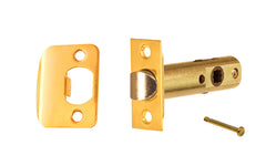 "Classic Spring Latch for Doors with Privacy Pin (Locking) ~ 2-3/8"" Backset ~ Lacquered Brass Finish"