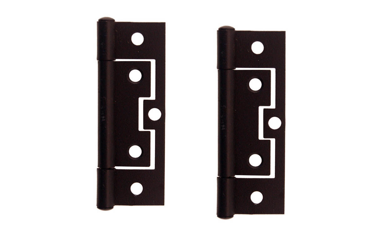 Picture of: 3 Non Mortise Cabinet Hinges Flat Black Finish