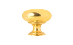"Classic Brass Knob ~ 1-1/4"" Diameter ~ Non-Lacquered Brass (will patina naturally over time)"