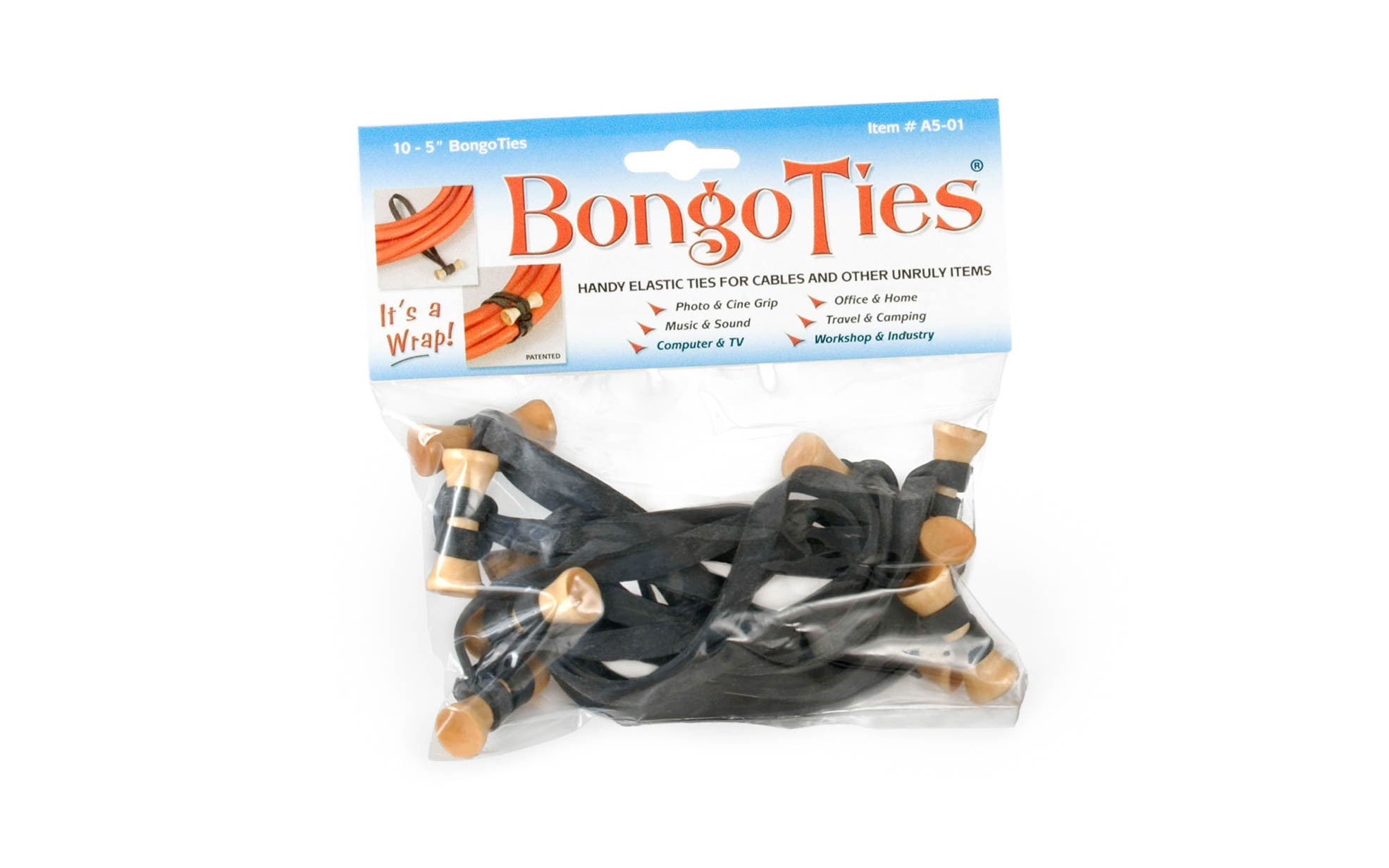 The Original BongoTies ~ 10 Pack Bag ~ Bag is Resealable