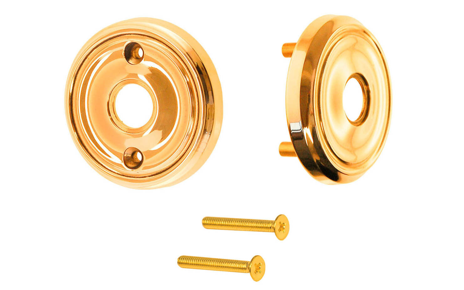 Classic Solid Brass Rosette Set ~ Passage (Non-Locking) ~ Lacquered Brass Finish