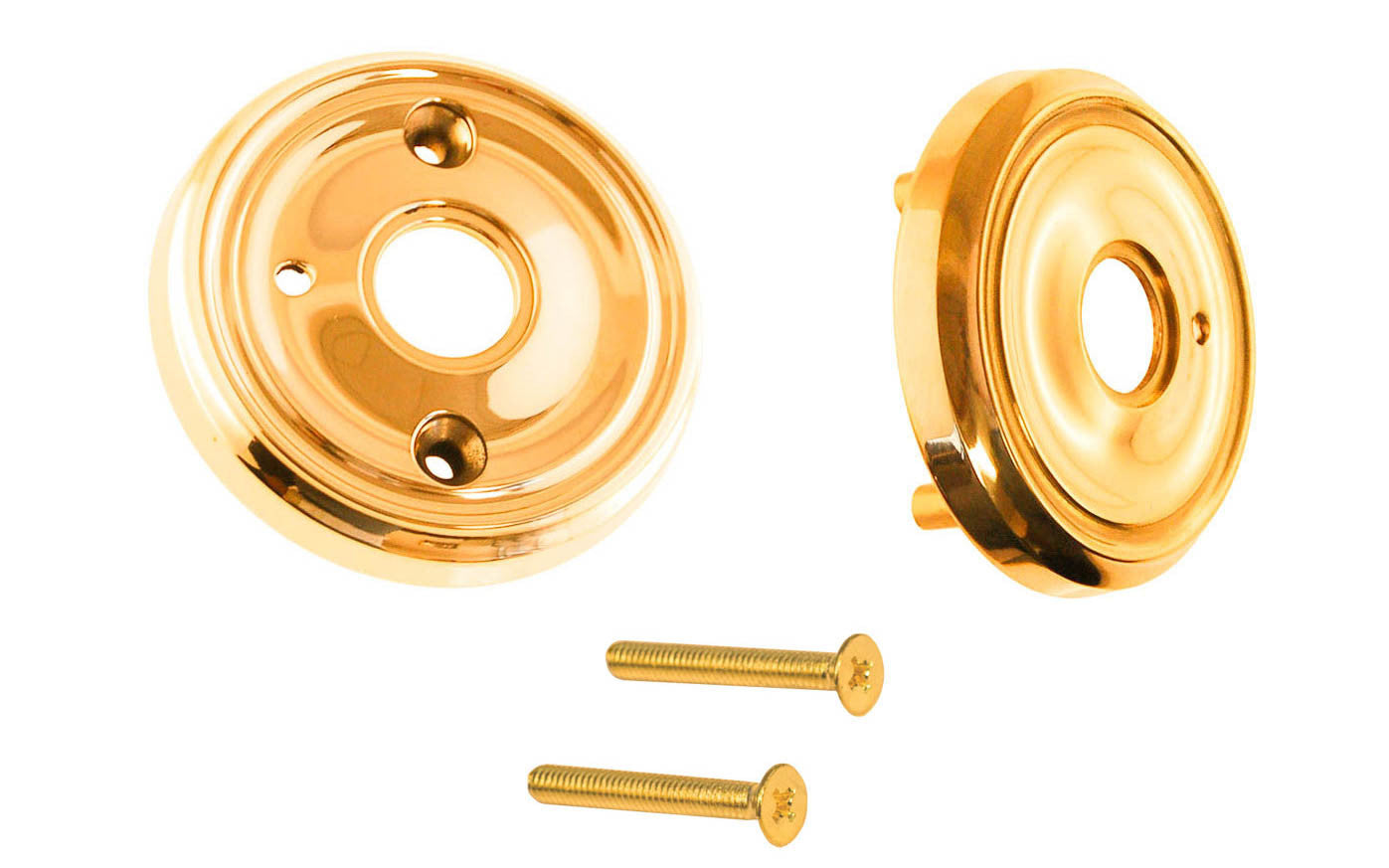 Classic Solid Brass Rosette Set ~ Privacy (Locking) ~ Non-Lacquered Brass (will patina naturally over time)