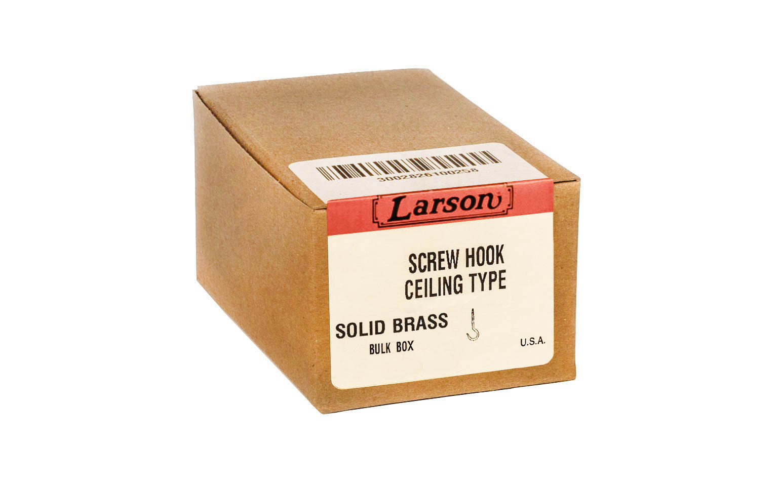 Bulk Box of Solid Brass Ceiling Hooks - Made in USA