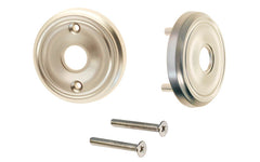 Classic Solid Brass Rosette Set ~ Passage (Non-Locking) ~ Brushed Nickel Finish