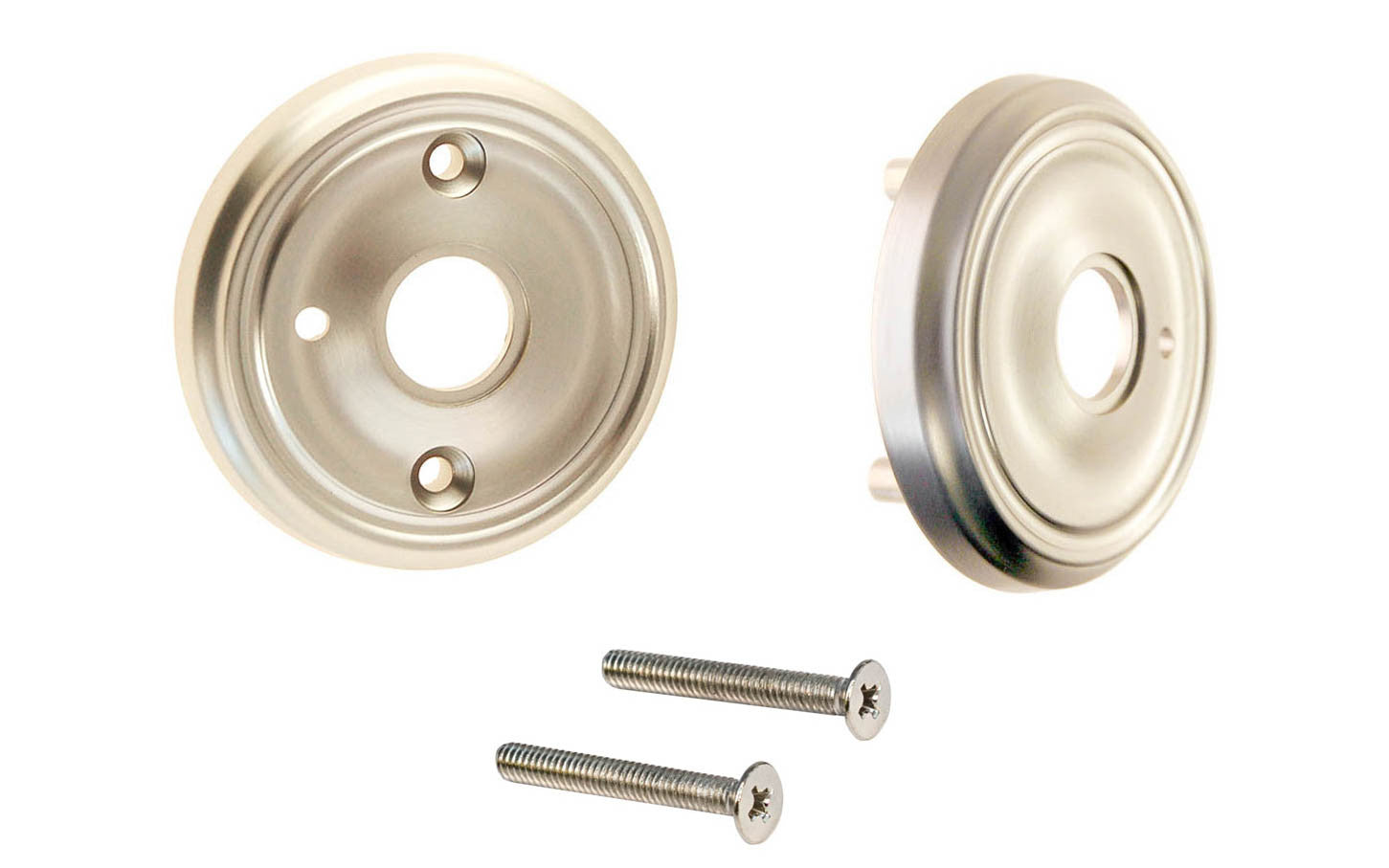 Classic Solid Brass Rosette Set ~ Privacy (Locking) ~ Brushed Nickel Finish