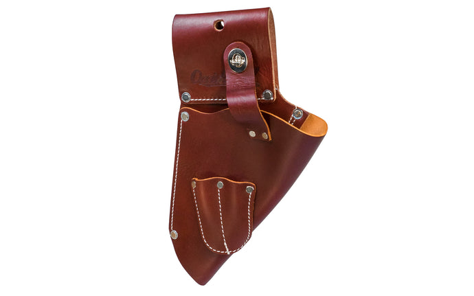 Made in USA - Occidental Leather All leather heavy duty angled body holster for increased balance & comfort with 2 holders for drill or driver bits. Fits most cordless drills. Accepts up to 3