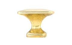 "Solid Brass Square Knob ~ 1-1/4"" Size ~ Non-Lacquered Brass (will patina naturally over time)"