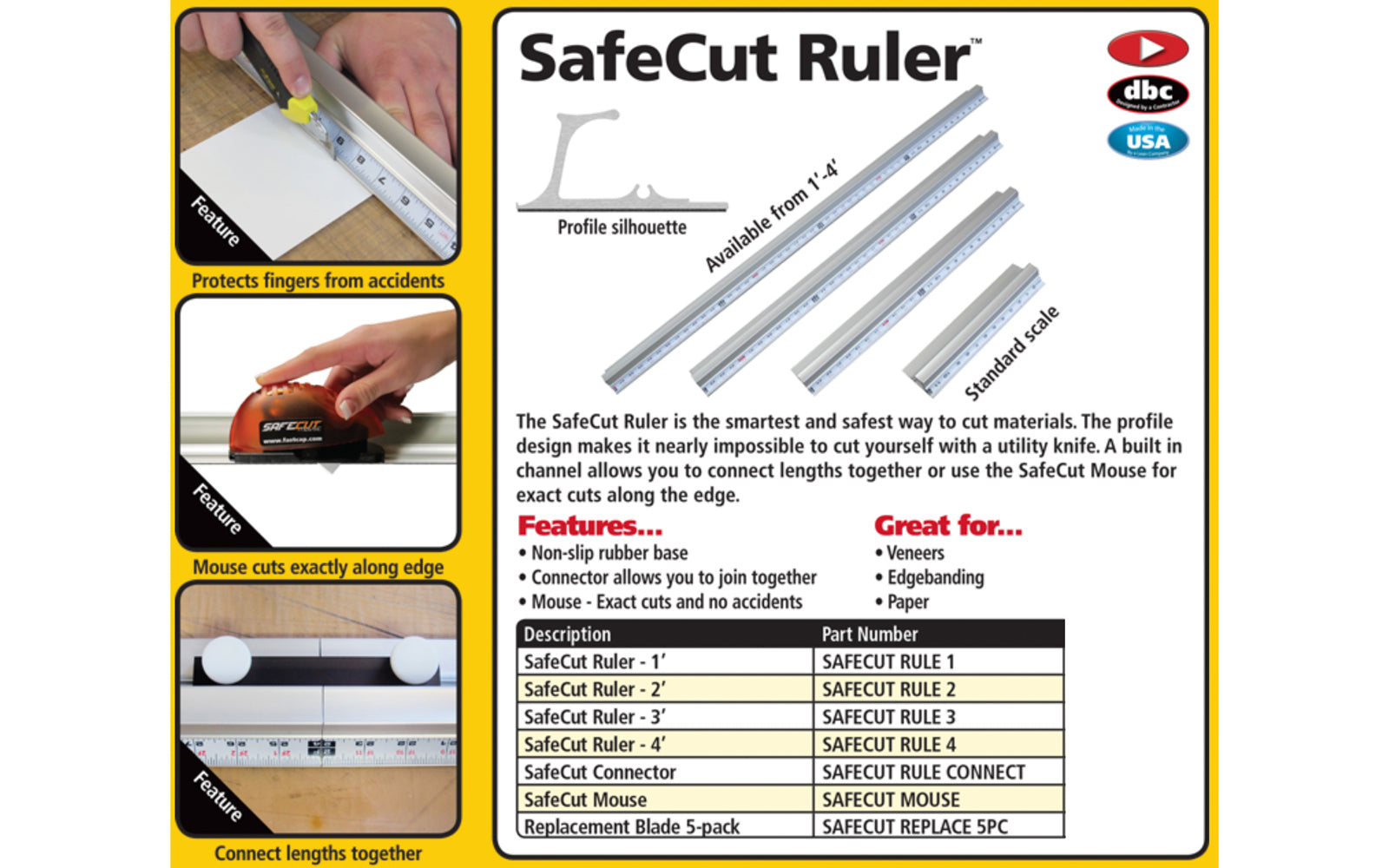 FastCap SafeCut Ruler - 48