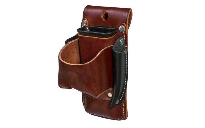 Made in USA - Occidental Leather 4-in-1 holder provides 4x the tool capacity in the space of one holder. Holders for tape, lumber crayon or screw driver, pencil - Riveted - Hammer Holster - Hand Made - 759244305807 - 4-in-1 Tool Holder Holster - Model 5522 - Fits up to a 3