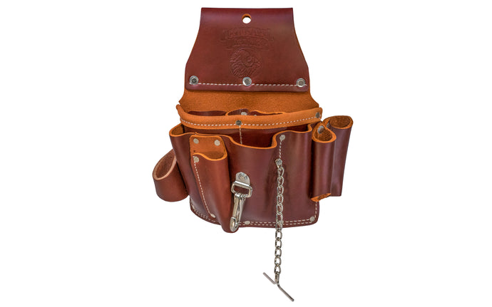 Occidental Leather Electrician's Pouch Model 5049 - 15 pockets & tool holders for most frequently used tools. Includes loop for flashlight, chain for electrical tape, quick release tool snap, heavy duty hammer holder, pockets for screw drivers & specialized tools. Tunnel loop on back accepts up to 3
