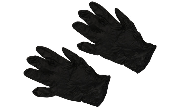 Powder free black Nitrile gloves are industrial grade gloves that have exceptional strength & durability. 5 Mil size. Good for automotive work, shop use, plumbing, manufacturing, security, law enforcement & transportation. Beaded cuff style. Not made with rubber latex. Ambidextrous design fits right or left hand