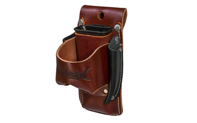 Made in USA - This Occidental Leather 4-in-1 holder provides 4x the tool capacity in the space of one holder. Holders for tape, lumber crayon or screw driver, pencil - Riveted - Hammer Holster - Hand Made - 759244305906 - 4-in-1 Tool Holder Holster - Model 5523 - Steel Clip Attached - Fits up to a 3