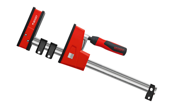 Bessey Parallel K-Body Bar Clamps are powerful clamps designed to clamp at 90 degrees to the rail with very large clamping surfaces. Converts to spreading with no tools required in seconds by removing end stop & reversing the operating head. 12