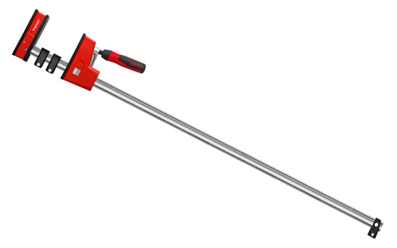 Bessey Parallel K-Body Bar Clamps are powerful clamps designed to clamp at 90 degrees to the rail with very large clamping surfaces. Converts to spreading with no tools required in seconds by removing end stop & reversing operating head. 40