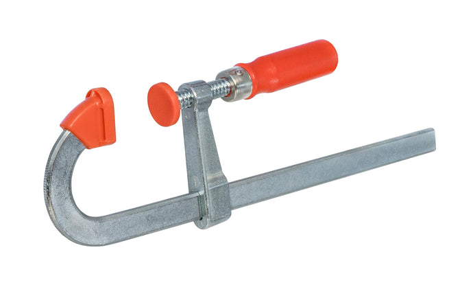 The Bessey U shaped bar clamps helps to clamp over small obstructions & apply the clamping force. Rail is made of quality steel drawn in a single piece for durability & strength. U-shape of the rail enables step-over clamping for hard-to-reach spaces. 8