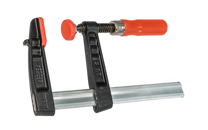 Bessey Light-Duty Steel Bar Clamps heads are made of malleable cast iron. The fixed jaw & sliding arm generates powerful & rigid clamping - acts against torsional forces - Wooden handles - 880 lbs. clamping pressure - Model No. TG4.008 -