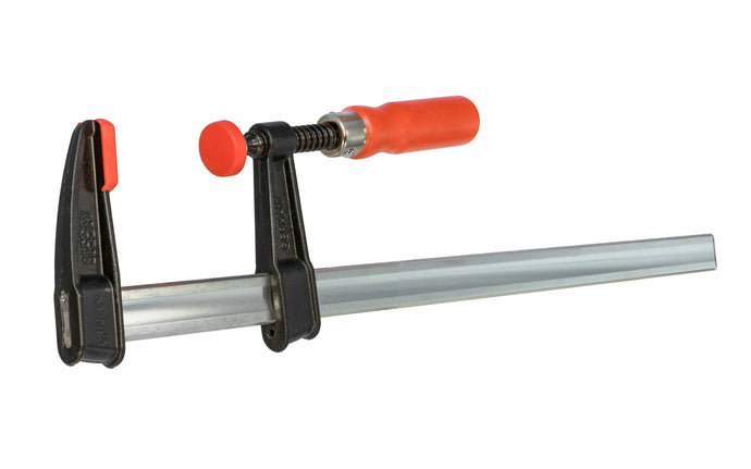 Bessey Light-Duty Steel Bar Clamps heads are made of malleable cast iron. The fixed jaw & sliding arm generates powerful & rigid clamping - acts against torsional forces - Wooden handles - 600 lbs. clamping pressure - Model No. TGJ2.518 -