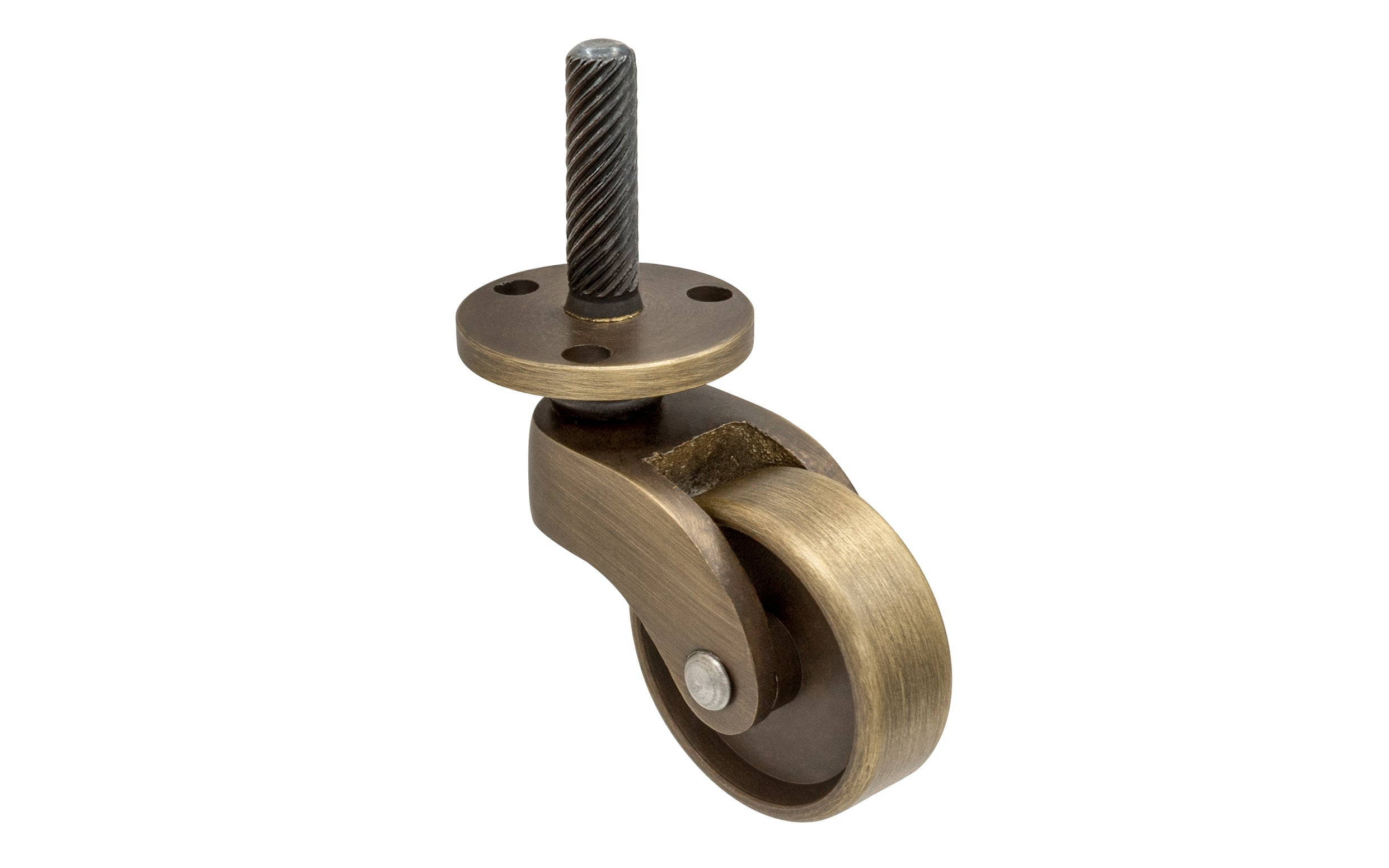 Solid Brass Stem & Plate Caster ~ 1-1/4