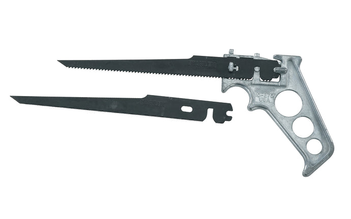 Stanley 4-Way Keyhole Saw ~ 15-275 - 4-way­ blade positioning cuts curves, circles, & frets into places where ordinary hacksaws cannot reach - Cuts wood, nails, composition board, BX cable, conduit, & more - Lightweight, pistol grip handle - Made in USA