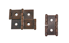"Double Action Cabinet Hinges for 3/4"" Panels ~ 1-3/4"" High ~ Antique Copper Finish"