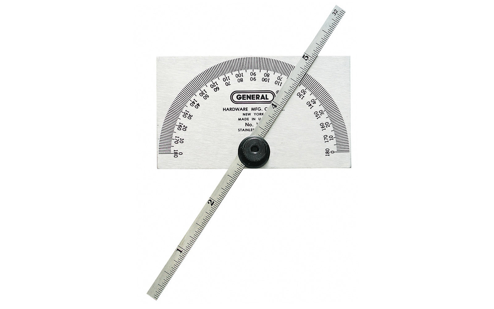 Stainless Steel Protractor & Depth Gauge ~ Square Head - Model No. 19