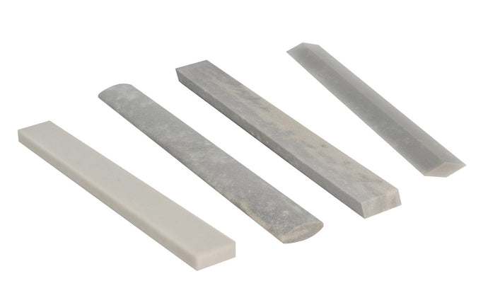 Hard Arkansas 4-Piece File Stone Set ~ Flat, Oval, Diamond, Bevel - Four Piece Set - Super-fine stone that is satisfactory for the final edge on woodworking cutting tools & knives - Made in USA ~ Model No. F4C2