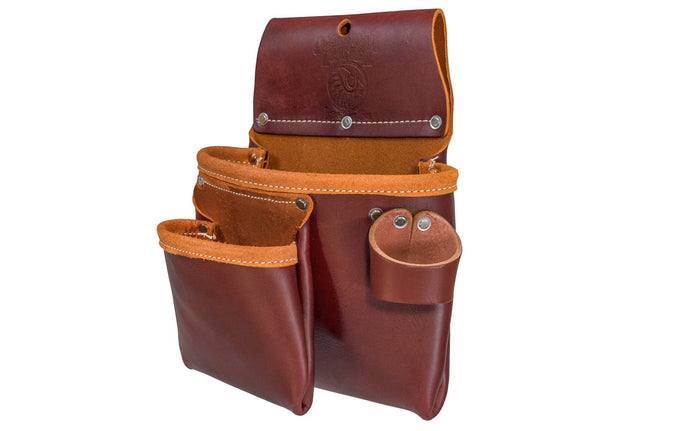 Occidental Leather 2-Pouch Utility Bag ~ 5017 - Made in USA ~ 2-pocket pouch bag - Double Pocket Bag - Made of Genuine Leather - Hand Made - Fits up to a 3