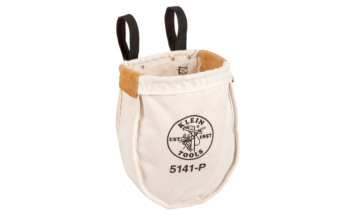 Klein Tools - Made in USA ~ 5141-P - Tough Canvas material - Klein Canvas Pouch - Klein Canvas Bag - Includes interior pocket - Inside bottom is reinforced with tough, tanned leather - Ventilating eyelet in bottom - Snap hooks on loops for fast attachment on belts up to 3