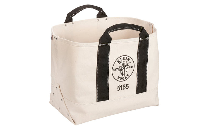 Klein Tools - Made in USA ~ 5155 - Tough Canvas material - Large Klein Canvas Bag - Klein Canvas Bag - Double-layer canvas bottom - Open interior provides easy organization - Reinforced, riveted web handles - 17