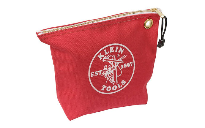 Klein Tools - Made in USA ~ Model 5539RED - Tough Canvas material - Klein Canvas Pouch - Klein Canvas Bag - Storage for pliers, wrenches, & other tools - Klein Canvas Zipper Bag - Made with tough No. 8 canvas for durability - Heavy-duty zipper - 092644552601 - Canvas Zipper Bags, Consumables - Wide Bottom - Red Color - 10