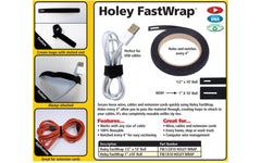 "FastCap Holey Fastwrap - Velcro Wrap - 1/2"" x 10' ~ 1"" x 10' ~ Excellent for wires, cables, USB & extension cables - Home & workshop"