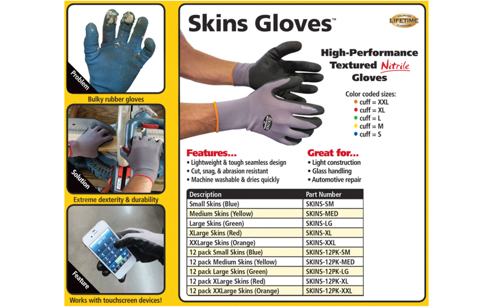FastCap Skins Work Gloves - Nitrile Coated Palms - Model No. SKINS ~ These gloves have great dexterity & durability. Will work on most touchscreens - Great for light construction, handling wood lumber & melamine, mill work, glass handling, metal parts, automotive repair & parts assembly, & more