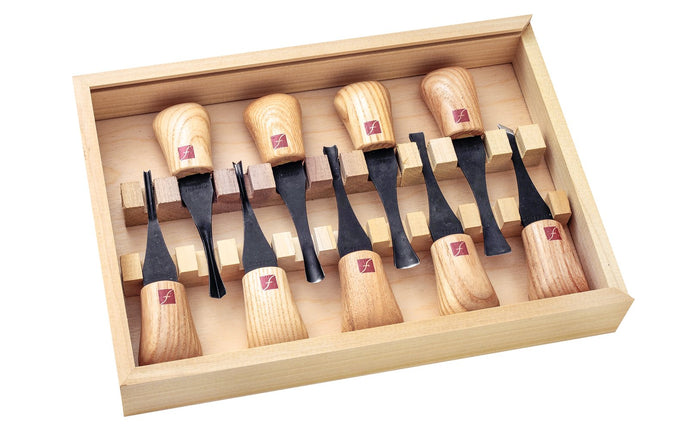"Flexcut Deluxe Palm Carving Set ~ FR405 - 9-piece set - #2 x 5/16"" (8mm), #3 x 3/8"" (9mm), #3 x 5/8"" (16mm), #5 x 9/16"" (14mm), #6 x 5/16"" (8mm), #8 x 3/8"" (10mm), #11 x 1/8""  - High Carbon Steel blades - Palm Carving Tool Set - Made in USA"