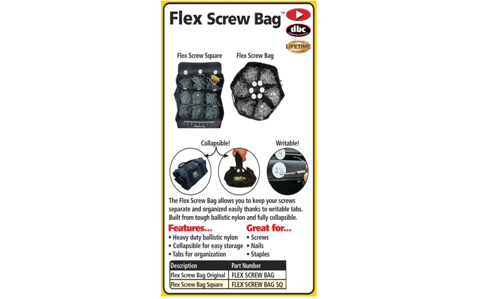 FastCap Flex Screw Bag - Square ~ Labeling tabs - Excellent for screws, nails, staples, electrical & plumbing parts, washers & other hardware