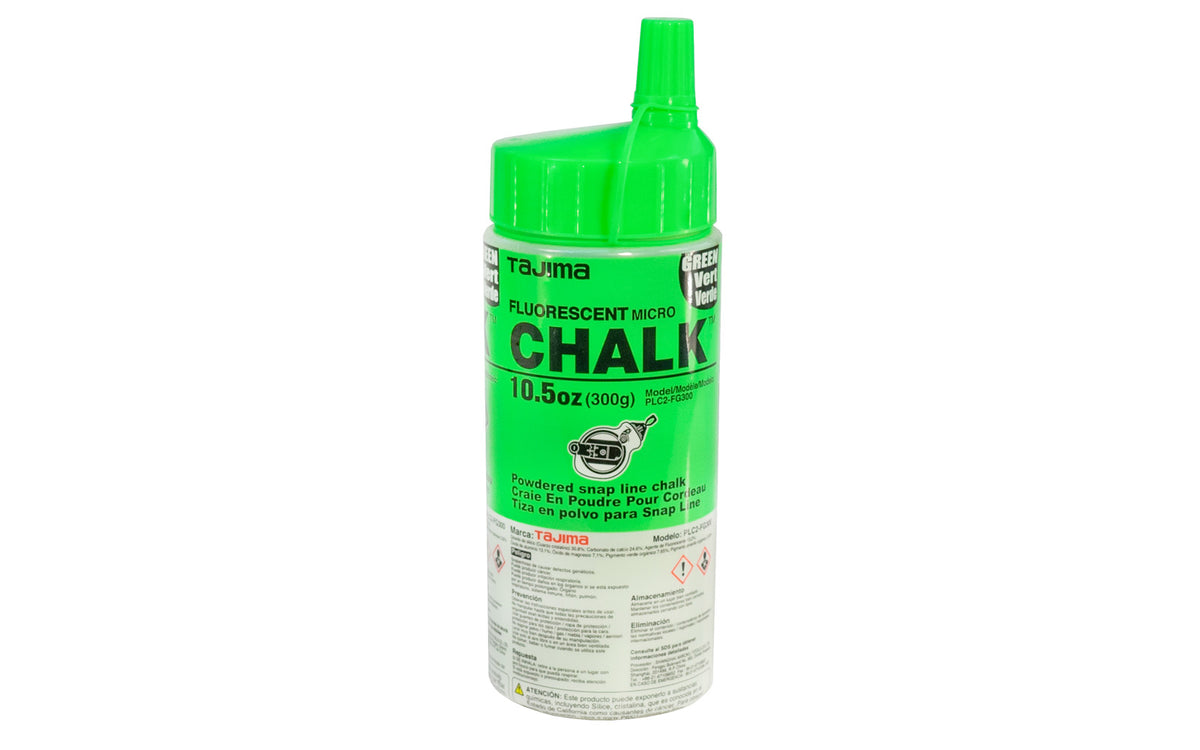 Tajima Micro Powder Chalk, Fluorescent Green ~ 10.5 oz - Model No. PLC2-FG300 - Quality chalk for layout