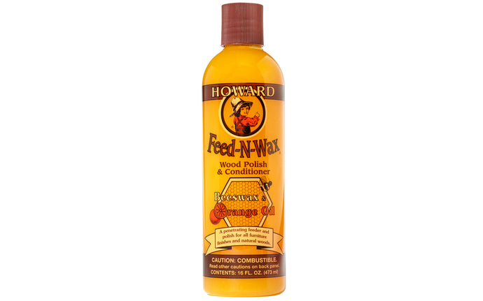 Howard Feed-N-Wax Wood Polish & Conditioner - Beeswax & Orange Oil ~ 16 oz - Howard's Model No. FW0016 - Made in USA