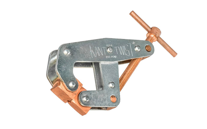 Kant Twist Cantilever Clamp - Made in USA ~ T-Handle - Copper plated jaws, screw & T-handle are ideal for welding - Great for spot welding, drilling, bolting - Three different gripping faces: Knurled, smooth & V-slot for holding round stock - Eliminates the distorting & twisting of your work pieces & provides a strong, 4:1 clamp ratio - Deep Throat
