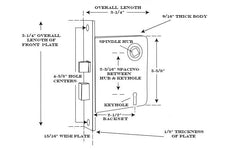 Specs for Classic Brass Interior Mortise Lock