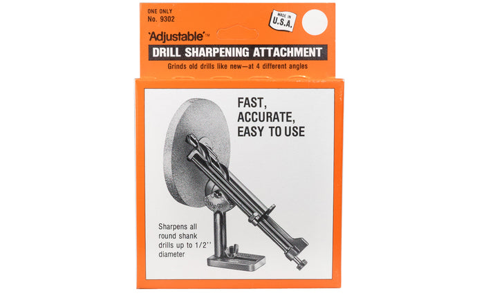 Adjustable Clamp Drill Sharpening Attachment ~ No. 9302 - Made in USA
