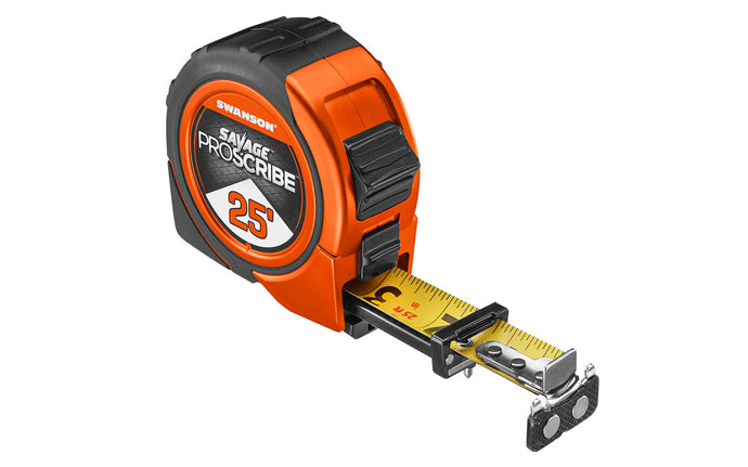 Swanson Savage Proscribe 25' Tape Measure ~ Magnetic Tip - Scribes circles into surfaces with centering pin - Model No. SVPS25M1