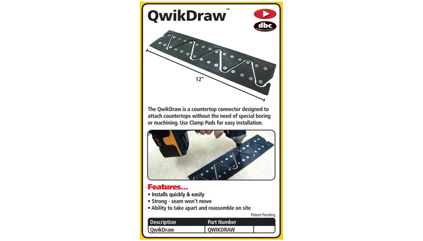 FastCap Qwikdraw Countertop Connector - Designed to attach countertops quick & fast