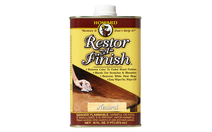 Howard Restor-A-Finish ~ Neutral - 16 oz - Made in USA - Model No. RF1016 ~ Restores the finish without removing any of the existing finish - blends out minor scratches, blemishes & abrasions - Removes white heat rings and water marks, sun fade, oxidation, smoke damage & most other blemishes - Excellent for restoring antiques, furniture, desks, dressers, tables, chairs, clocks, pianos, radios, bookcases, armoires, cabinets, etc.