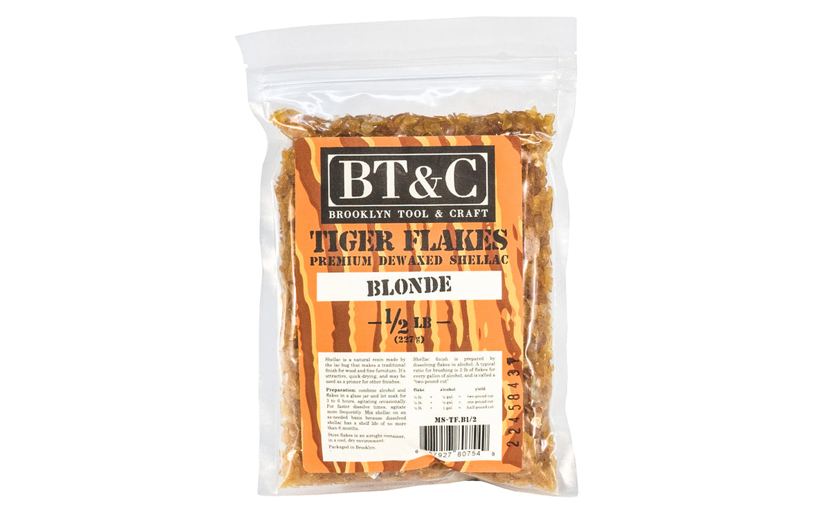 Dewaxed Blonde Shellac Tiger Flakes - 1/2 lb Bag  - Refined in Germany - Great for French Polishing - Makes a beautiful finish for wood, cork, plaster, & metal - Blonde Flakes