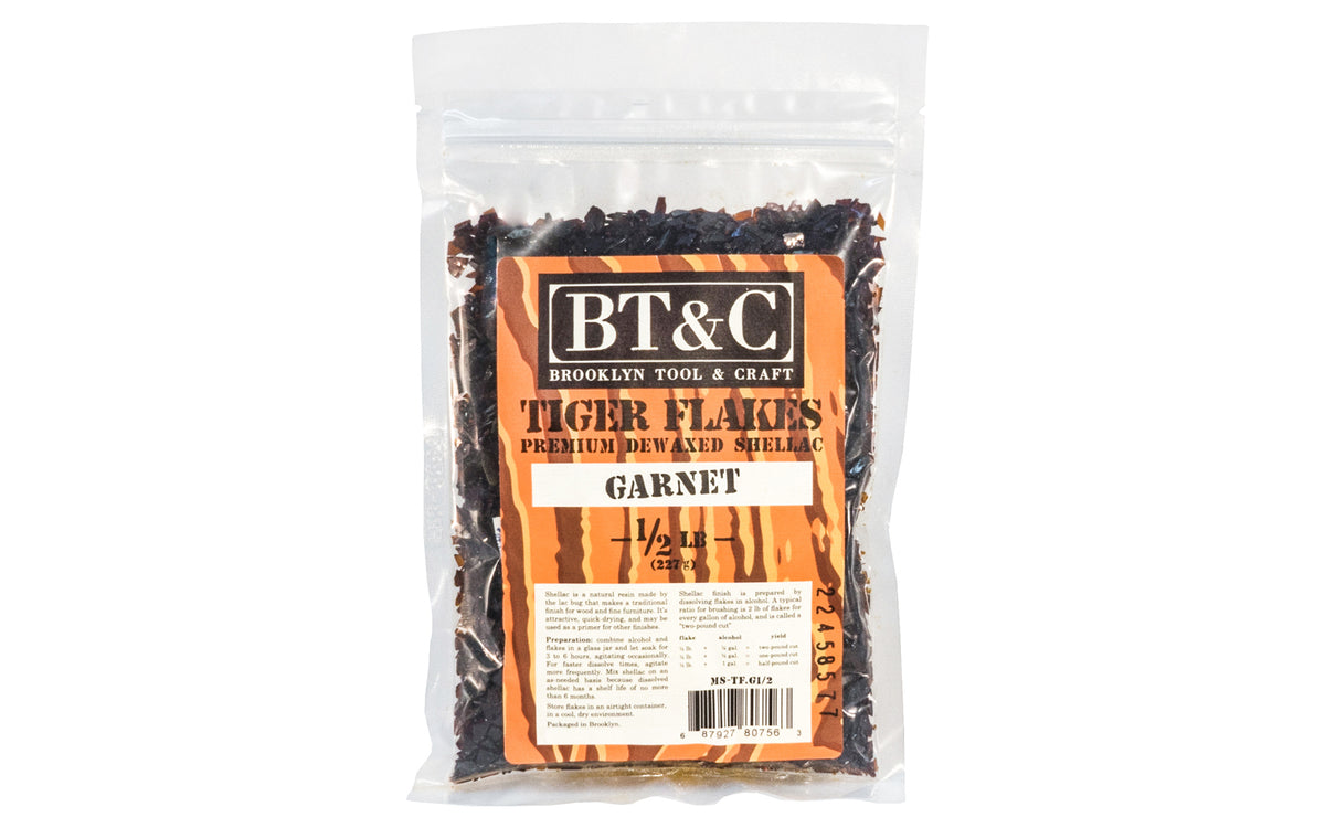 Dewaxed Garnet Shellac Tiger Flakes - 1/2 lb Bag  - Refined in Germany - Great for French Polishing - Makes a beautiful finish for wood, cork, plaster, & metal - Garnet Flakes