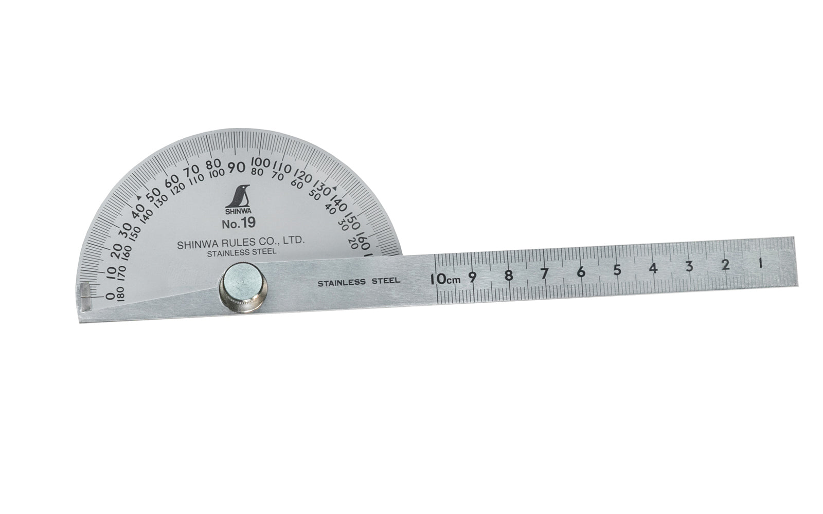 Shinwa No. 19 Protractor ~ Stainless Steel