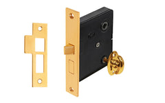 Classic Brass Interior Mortise Lock Set With Thumbturn ~ Non-Lacquered Brass (will patina over time)
